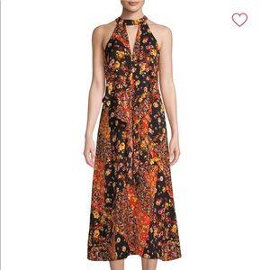Ava & Aiden Floral Black & Orange Dress New w/ Tag
